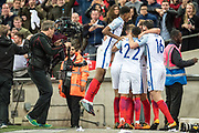 England team celebrate goal, England (9) Harry Kane, England (22) Jesse Lingard, England (10) Marcus Rashford during the FIFA World Cup Qualifier match between England and Slovenia at Wembley Stadium, London, England on 5 October 2017. Photo by Sebastian Frej.