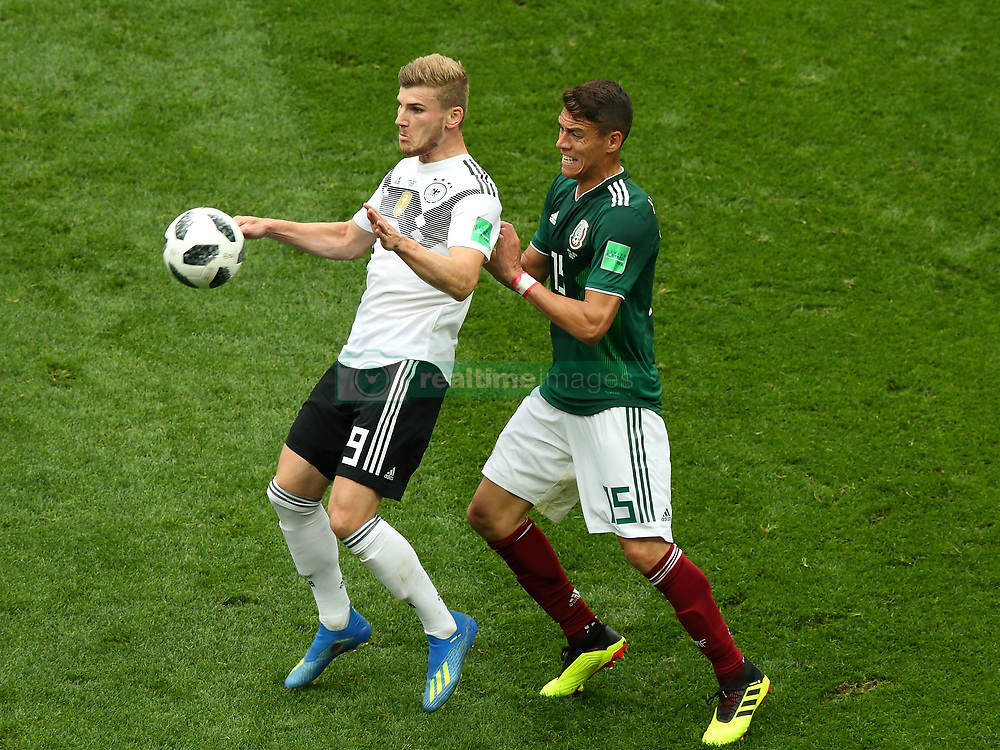 June 17, 2018 - Moscow, Russia - June 17, 2018, Russia, Moscow, FIFA World Cup, First round, Group F, Germany vs Mexico at the Luzhniki stadium. Player of the national team Timo Werner, Hector Alfredo Moreno Herrera (Credit Image: © Russian Look via ZUMA Wire)