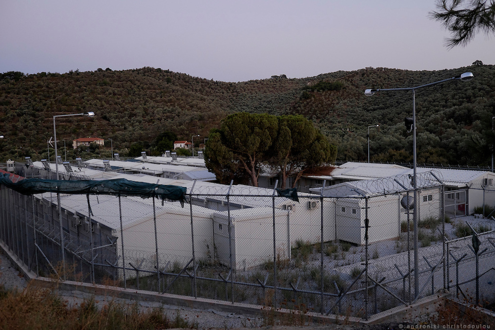 The inner section of the camp. Moria refugee camp is a bit further out of Mytilene city and it is divided in two sections. The inner part is well organised with buildings and police guarding it, and the outer part where mainly Afghan refugees live in tents and is purely guarded with chaotic situations, mainly during food distribution, frequently occur.