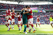 Arsenal midfielder Jeff Reine-Adelaide (31), Arsenal goalkeeper Petr Cech (33), Arsenal forward Lacazette (9)  celebrate win at the FA Community Shield match between Arsenal and Chelsea at Wembley Stadium, London, England on 6 August 2017. Photo by Sebastian Frej.