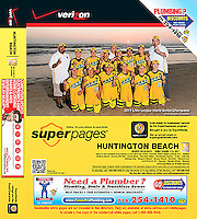 Huntington Beach Yellow Pages 2012 cover with the 2011 Little League World Series Baseball Champions at the beach in their hometown.