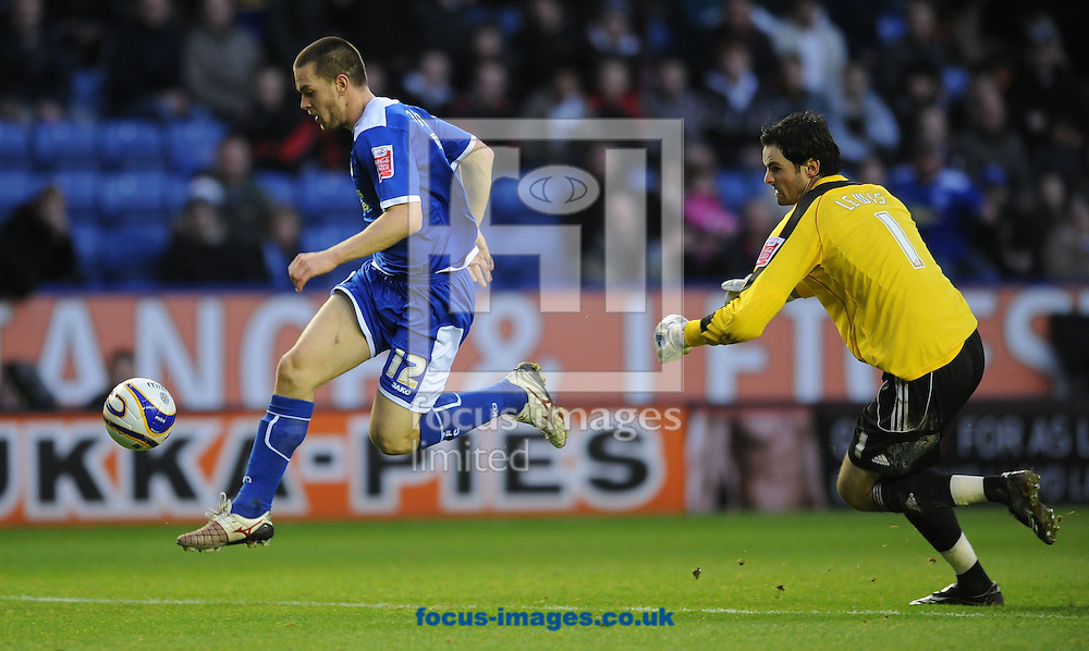 Leicester - Saturday December 22th, 2008: Matty Fryatt of Leicester City rounds Peterborough United goalkeeper, Joe Lewis, to score Leicester's 2nd goal during the Coca Cola League One match at The Walkers Stadium, Leciester. (Pic by Alex Broadway/Focus Images)