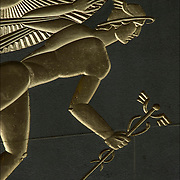 Art Deco Sculptural relief on of Winged Mercury by Lee Lawrie in 1933, on the facade The British Empire Building in Rockefeller Center.