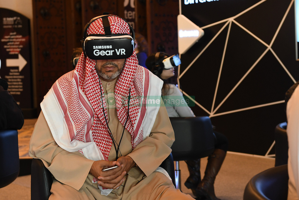 A VR or Virtual Reality movie theatre is seen as an experience by smartphone manufacturer Samsung at Madinat Jumeirah resort, near Dubai, United Arab Emirates on December 11, 2016, as part of 13th Dubai International Film Festival. Photo by Balkis Press/ABACAPRESS.COM