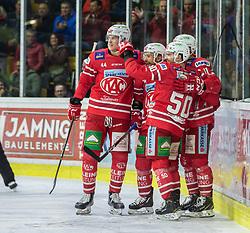 04.03.2020, Stadthalle, Klagenfurt, AUT, EBEL, EC KAC vs EHC Liwest Black Wings Linz, Viertelfinale, 1. Spiel, im Bild Adam COMRIE (EC KAC, #44), Mathew NEAL (EC KAC, #50), Lukas HAUDUM (EC KAC, #11), Thomas KOCH (EC KAC, #18) // during the Erste Bank Icehockey 1st quarterfinal match between EC KAC and EHC Liwest Black Wings Linz at the Stadthalle in Klagenfurt, Austria on 2020/03/04. EXPA Pictures © 2020, PhotoCredit: EXPA/ Gert Steinthaler