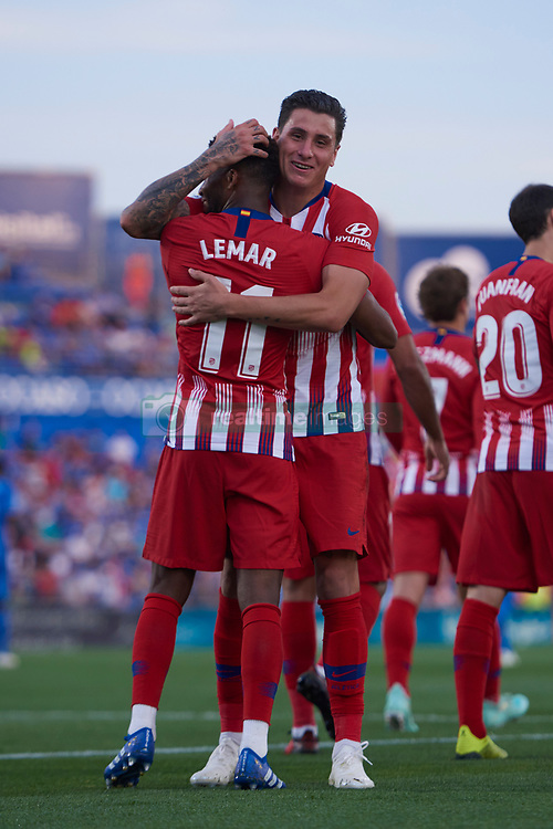 September 22, 2018 - Madrid, U.S. - MADRID, SPAIN  - SEPTEMBER 22: Thomas Lemar, midfielder of Atletico de Madrid celebrates his goal with his teammates during the La Liga match between Getafe CF and Atletico de Madrid at  Coliseum Alfonso Perez stadium on September 22, 2018, in Getafe, Spain. (Photo by Carlos Sanchez Martinez/Icon Sportswire) (Credit Image: © Carlos Sanchez Martinez/Icon SMI via ZUMA Press)