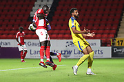 Charlton Athletic goalkeeper Jed Steer (21) saving a cross during the EFL Trophy match between Charlton Athletic and AFC Wimbledon at The Valley, London, England on 4 September 2018.