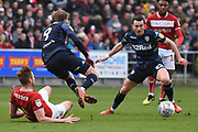 Leeds United forward Patrick Bamford (9) plays the ball to Leeds United midfielder Jack Harrison (22) during the EFL Sky Bet Championship match between Bristol City and Leeds United at Ashton Gate, Bristol, England on 9 March 2019.