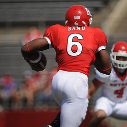 Apr 18, 2009; Piscataway, NJ, USA; Rutgers WR/DB Mohamed Sanu (6) runs after a catch during the first half of Rutgers' Scarlet and White spring football scrimmage.