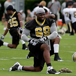 05 June 2009: Saints defensive end Anthony Hargrove (69) participates in drills during the New Orleans Saints Minicamp held at the team's practice facility in Metairie, Louisiana.