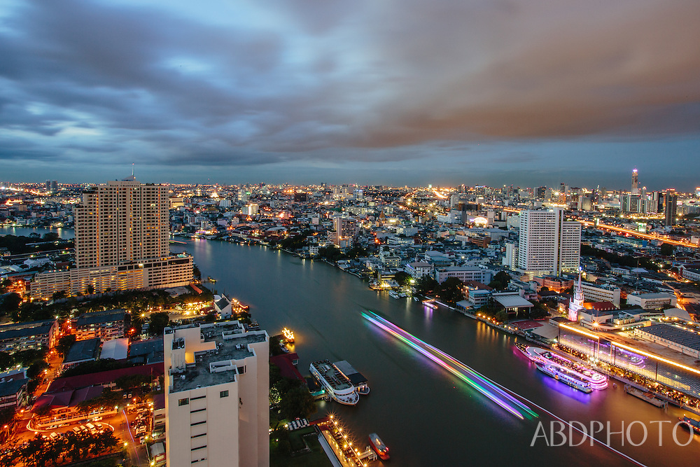 chao praya river, bangkok, thailand, cityscape, night, boats, long exposure