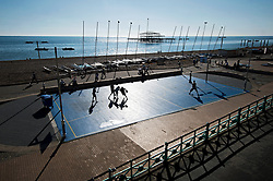 © London News Pictures. 23/09/2013 . Brighton, UK.   A group of men take part in a game of basketball in bright sunlight on Brighton seafront, where the Labour Party Conference is currently taking place. . Photo credit : Ben Cawthra/LNP