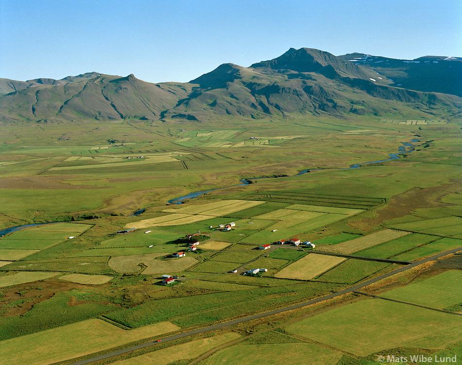 Stóri-Lambhagi,  Lambhagi og Laxfoss séð til norðurs, Hvalfjarðarsveit áður Skilmannahreppur / Stori-Lambhagi, Lambhagi and Laxfoss viewing north, Hvalfjardarsveit former Skilmannahreppur.