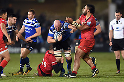 Matt Garvey of Bath Rugby takes on the Saracens defence - Mandatory byline: Patrick Khachfe/JMP - 07966 386802 - 29/11/2019 - RUGBY UNION - The Recreation Ground - Bath, England - Bath Rugby v Saracens - Gallagher Premiership