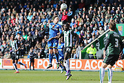 Dannie Bulman midfielder of AFC Wimbledon (4) and Plymouth Argyle midfielder Hiram Boateng (20) jump during the Sky Bet League 2 match between Plymouth Argyle and AFC Wimbledon at Home Park, Plymouth, England on 9 April 2016. Photo by Stuart Butcher.