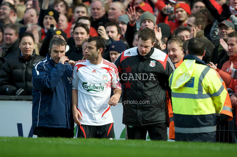MANCHESTER, ENGLAND - Sunday, March 23, 2008: Liverpool's Javier Mascherano can't believe he's been sent off during the Premiership match against Manchester United at Old Trafford. (Photo by David Rawcliffe/Propaganda)
