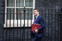 © Licensed to London News Pictures. 13/11/2017. London, UK. Secretary of State for Business, Energy and Industrial Strategy Greg Clark arrives on Downing Street for a meeting with European business leaders in which they will voice their concerns about the future of UK-EU trade. Photo credit: Rob Pinney/LNP