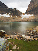 Opabin Lake, with Opabin Glacier and Pass in the background; near Lake O'Hara, Yoho National Park, Field, British Columbia, Canada