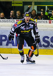 18.09.2015, Messestadion, Dornbirn, AUT, EBEL, Dornbirner Eishockey Club vs EC Red Bull Salzburg, 3. Runde, im Bild Torjubel bei Matt Siddall, (Dornbirner Eishockey Club) // during the Erste Bank Icehockey League 3rd round match between Dornbirner Eishockey Club vs EC Red Bull Salzburg at the Messestadion in Dornbirn, Austria on 2015/09/18. EXPA Pictures © 2015, PhotoCredit: EXPA/ Peter Rinderer