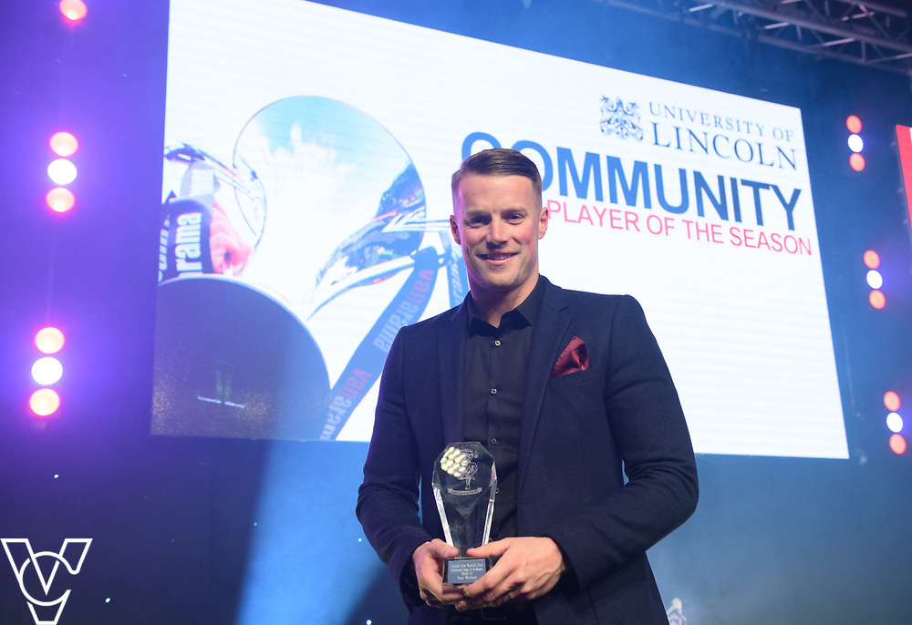 Lincoln City Football Club's 2016/17 End of Season Awards night - Championship Seasons Awards Dinner - held at the Lincolnshire Showground.<br /> <br /> COMMUNITY PLAYER OF THE SEASON:  Paul Farman with Community Player of the Season sponsored by the University of Lincoln <br /> <br /> Picture: Chris Vaughan Photography for Lincoln City Football Club<br /> Date: May 20, 2017
