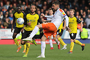 Luton Town defender Sonny Bradley kicks the ball during the EFL Sky Bet League 1 match between Burton Albion and Luton Town at the Pirelli Stadium, Burton upon Trent, England on 27 April 2019.