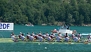 Aiguebelette, FRANCE   USA Men's Eight lead the field home to take the gold medal at the 2014 FISA World Cup II. 14:23:23  Sunday  22/06/2014. [Mandatory Credit; Peter Spurrier/Intersport-images]
