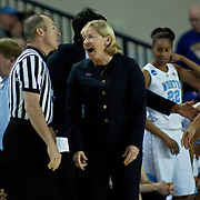 North Carolina Head Coach Sylvia Hatchell discusses a foul call with the official in the first half of a 2013 Round Two Women's NCAA tournament game against No. 6 Delaware Tuesday, March 26, 2013, at the Bob Carpenter Center in Newark Delaware.