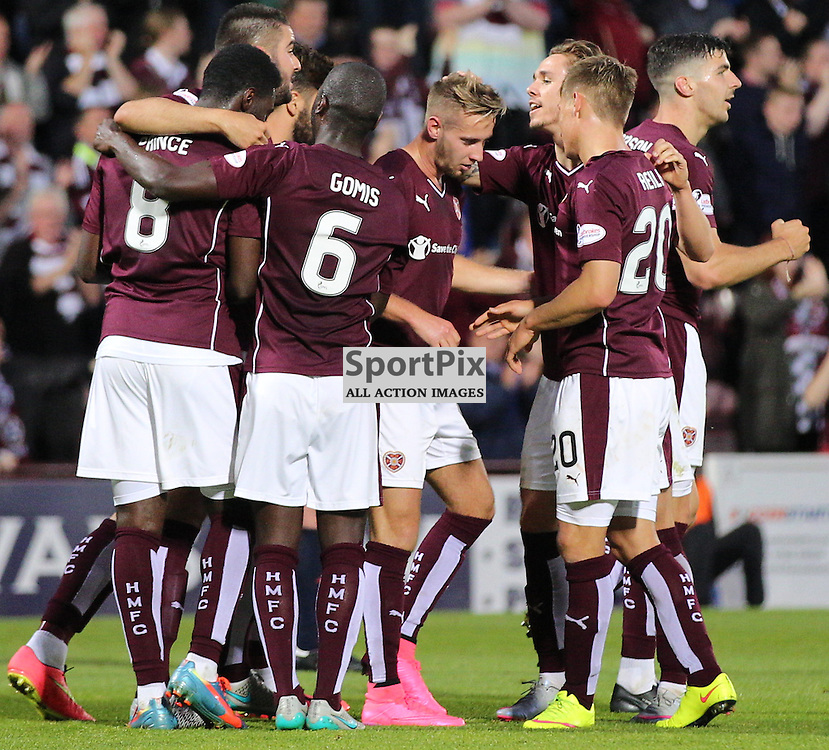 Hearts v Motherwell Scottish Premiership 12 August 2015; Billy King (Hearts, 12) is congratulated by his team mates after scoring Hearts second during the Heart of Midlothian v Motherwell Scottish Premiership match played at Tynecastle Stadium, Edinburgh; <br /> <br /> &copy; Chris McCluskie | SportPix.org.uk