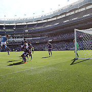 NEW YORK, NEW YORK - May 29:  A general view of goalmouth action at Yankee Stadium as Frederic Brillant #13 of New York City FC heads just over the bar during the New York City FC Vs Orlando City, MSL regular season football match at Yankee Stadium, The Bronx, May 29, 2016 in New York City. (Photo by Tim Clayton/Corbis via Getty Images)