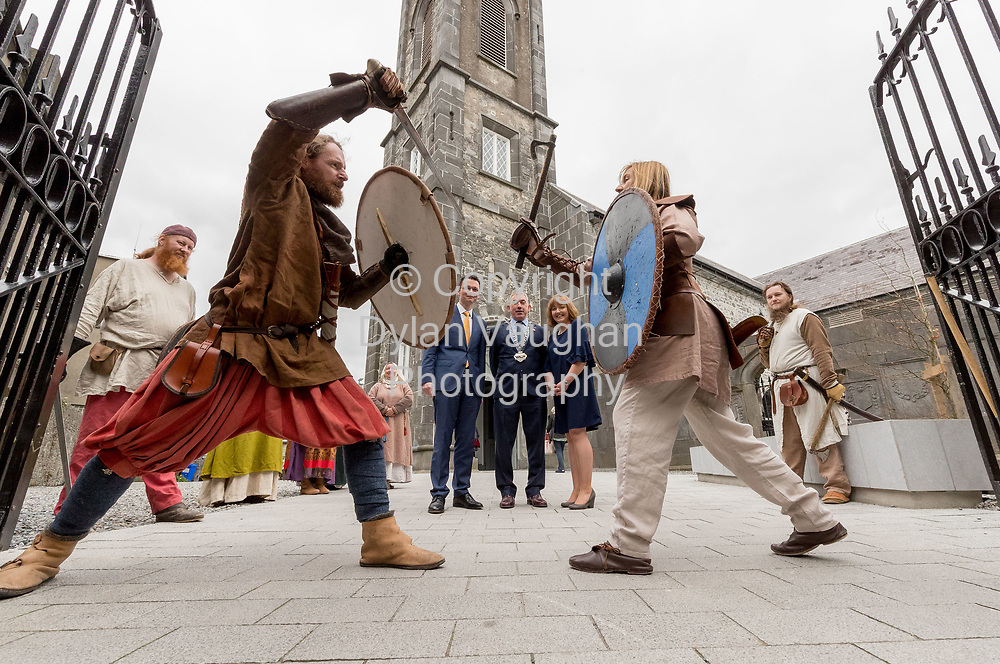 Repro Free no charge for use<br /> <br /> 4-4-17<br /> <br /> Official opening of Kilkenny&rsquo;s Medieval Mile Museum<br />  <br /> Today, Tuesday April 4th  at 12.15pm, Patrick O Donovan, Minister for Tourism and Sport officially opened Kilkenny&rsquo;s Medieval Mile Museum by cutting a ribbon at the door of the former St Mary&rsquo;s Church (St Mary&rsquo;s Lane, Kilkenny). The Medieval Mile Museum, commissioned by Kilkenny County Council, represents an investment of &euro;6.5 million, with significant assistance from Failte Ireland&rsquo;s Capital Programme and additional funding from Kilkenny Civic Trust. <br /> <br /> Pictured at the opening from left with members of Deise Medieval are Patrick O Donovan, Minister for Tourism and Sport, Matt Doran, Chairman of Kilkenny County Council and Grace Fegan, Curator, Medieval Mile Museum.<br />  <br /> <br /> Picture Dylan Vaughan.