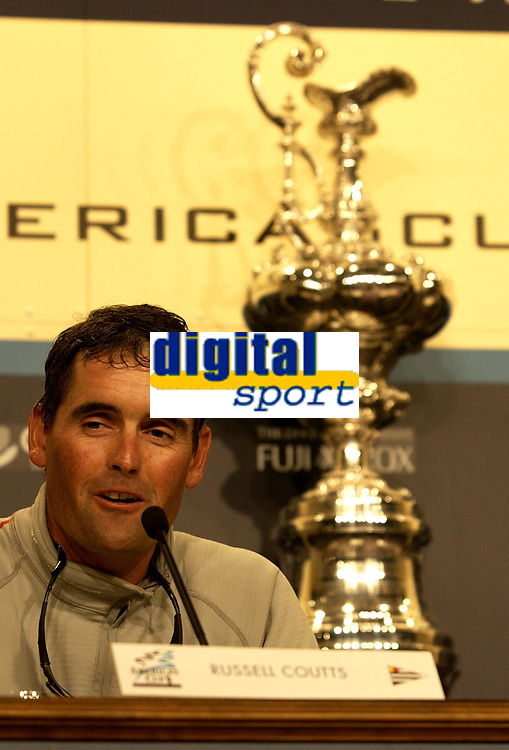 EX NEW ZEALAND SKIPPER / WINNER RUSSELL COUTTS IS VERY RESERVED ABOUT THE WINNING OF THE AMERICA'S CUP.