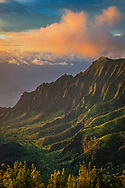 Sunset light on the Na Pali Coast from Pu'u O Kila Lookout, Kauai, Hawaii