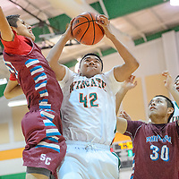 030114       Cable Hoover<br /> <br /> Wingate Bear Braydon Boyd (42) pulls a rebound away from the Shiprock Chieftains Saturday at Wingate High School.