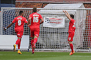 York City forward Reece Thompson celebrates his goal  during the Sky Bet League 2 match between York City and Mansfield Town at Bootham Crescent, York, England on 29 August 2015. Photo by Simon Davies.