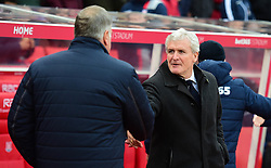 Crystal Palace manager Sam Allardyce shakes hands with Stoke City manager Mark Hughes - Mandatory by-line: Alex James/JMP - 11/02/2017 - FOOTBALL - Bet365 Stadium - Stoke-on-Trent, England - Stoke City v Crystal Palace - Premier League