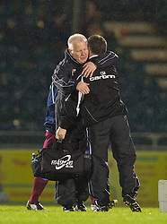 BRISTOL, ENGLAND - Tuesday, September 28, 2010: Tranmere Rovers' manager Les Parry celebrates his side's 1-0 victory over Bristol Rovers during the Football League One match at the Memorial Ground. (Photo by David Rawcliffe/Propaganda)