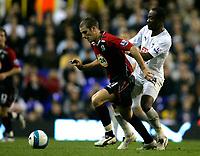 Photo: Tom Dulat.<br /> <br /> Tottenham Hotspur v Blackburn Rovers. The FA Barclays Premiership. 28/10/2007.<br /> <br /> David Bentley of Blackburn Rovers and Didier Zokora of Tottenham Hotspur with the ball.