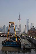 China, Shanghai.Pudong slyline and Waibadu bridge view from the Bund, Suzhou creek
