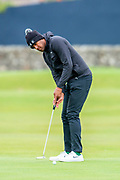 Tony Finau sinks a birdie putt on the first green during the final round of the Alfred Dunhill Links Championship European Tour at St Andrews, West Sands, Scotland on 29 September 2019.