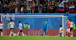 SAINT PETERSBURG, RUSSIA - Tuesday, June 19, 2018: Egypt's goalkeeper Mohamed Elshenawy looks dejected as Russia score the second goal during the FIFA World Cup Russia 2018 Group A match between Russia and Egypt at the Saint Petersburg Stadium. (Pic by David Rawcliffe/Propaganda)
