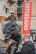 Supersaurs sculpture,  designed by Jay Jay Burridge greets arrivals. The sculpture celebrates the new Supersaurs publishing programme of six middle grade books published by Bonnier Zaffre in 2017. The London Book Fair, celebrating its 45 year anniversary, is the global marketplace for rights negotiation and the sale and distribution of content across print, audio, TV, film and digital channels. Staged annually, LBF sees more than 25,000 publishing professionals arrive in London for the week of the show to learn, network and kick off their year of business. The London Book Fair sits at the heart of London Book & Screen Week, and runs from the 12-14 April 2016.