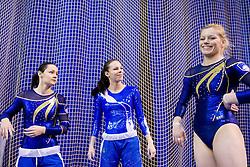 Carmen Horvat, Tjasa Kysselef and Teja Belak of Slovenia during Qualifications day of Artistic Gymnastics World Cup Ljubljana, on April 26, 2013, in Hala Tivoli, Ljubljana, Slovenia. (Photo By Vid Ponikvar / Sportida.com)