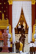 "04 FEBRUARY 2013 - PHNOM PENH, CAMBODIA:  Foreign dignitaries file into the crematorium during the cremation of King-Father Norodom Sihanouk in Phnom Penh. Norodom Sihanouk (31 October 1922 - 15 October 2012) was the King of Cambodia from 1941 to 1955 and again from 1993 to 2004. He was the effective ruler of Cambodia from 1953 to 1970. After his second abdication in 2004, he was given the honorific of ""The King-Father of Cambodia."" Sihanouk died in Beijing, China, where he was receiving medical care, on Oct. 15, 2012.   PHOTO BY JACK KURTZ"