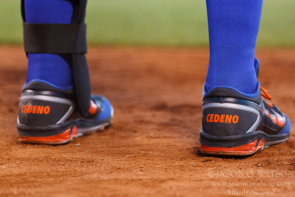 SAN FRANCISCO, CA - JULY 30: Detailed view of the shoes belonging to Ronny Cedeno #13 of the New York Mets before an at bat against the San Francisco Giants during the fourth inning at AT&T Park on July 30, 2012 in San Francisco, California. The New York Mets defeated the San Francisco Giants 8-7 in 10 innings. (Photo by Jason O. Watson/Getty Images) *** Local Caption *** Ronny Cedeno