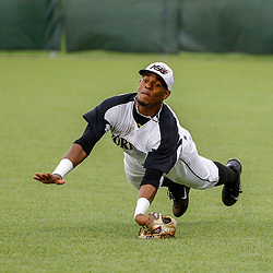 Alabama State outfielder Joseph Estrada (8) dives for a shallow pop fly against the Texas Southern during the top of the thirteenth inning of the SWAC baseball championship final in New Orleans, La. Sunday, May 21, 2017.