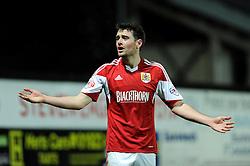 Bristol City's Brendan Moloney cuts a dejected figure - Photo mandatory by-line: Dougie Allward/JMP - Tel: Mobile: 07966 386802 14/01/2014 - SPORT - FOOTBALL - Vicarage Road - Watford - Watford v Bristol City - FA Cup - Third Round - replay