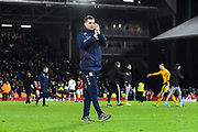Middlesbrough manager Jonathan Woodgate  applauds the travelling fans at full time during the EFL Sky Bet Championship match between Fulham and Middlesbrough at Craven Cottage, London, England on 17 January 2020.