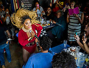 Enjoying the show at Drag Queen Brunch at Nellie's Sports Bar in Washington, DC