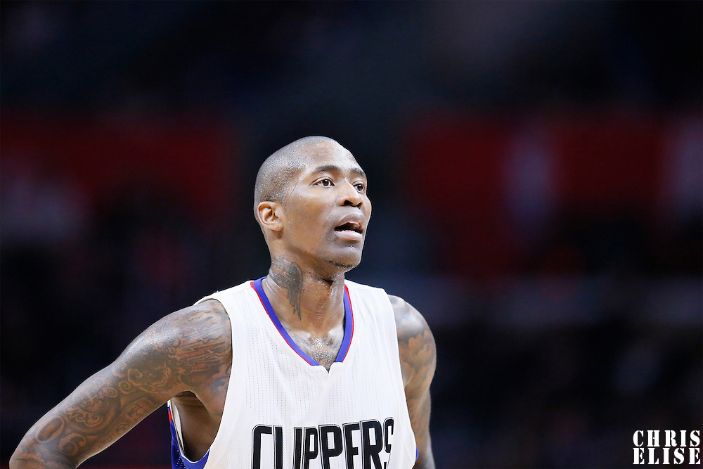 10 January 2016: Los Angeles Clippers guard Jamal Crawford (11) rests during the Los Angeles Clippers 114-111 overtime victory over the New Orleans Pelicans, at the Staples Center, Los Angeles, California, USA.