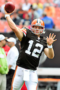 Sept. 19, 2010; Cleveland, OH, USA; Cleveland Browns quarterback Colt McCoy (12) warms up prior to the game against the Kansas City Chiefs at Cleveland Browns Stadium. Mandatory Credit: Jason Miller-US PRESSWIRE